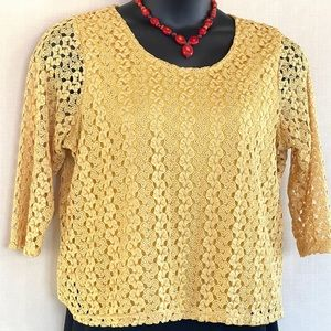 Lacy, yellow, 3/4 length sleeve, dressy top.